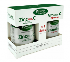 Power of Nature Platinum Range Zinc Plus C 30 tabs & Δώρο Vitamin C 1000 mg 20 tabs