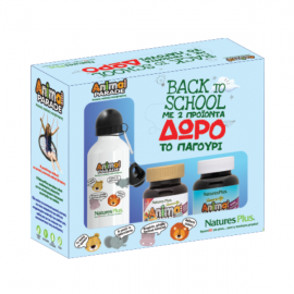 Nature`s Plus Back To School Animal Parade Immune Booster 90 chewable tabs + Gold Assorted Flavor 60 chewable tabs + Δώρο Παγούρι Λευκό