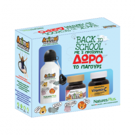 Nature`s Plus Back To School Animal Parade Vitamin C 90 chewable tabs + Gold Assorted Flavor 60 chewable tabs + Δώρο Παγούρι Λευκό