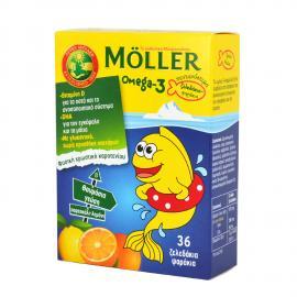 Moller`s Omega-3 Kids Ζελεδάκια με Ω3 Λιπαρά Οξέα Ειδικά Σχεδιασμένο για Παιδιά 36gummies