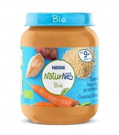 Nestle Naturnes Bio Βιολογική Παιδική Τροφή Ζυμαρικά (κους κους) με Κοτόπουλο από 9 Μηνών+ 190gr