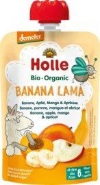 Holle Banana Lama Πουρές με Γεύση Μπανάνα, Μήλο, Μάνγκο, & Βερίκοκο από 6 μηνών 100g
