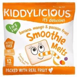 KIDDYLICIOUS Smoothie Melts Banana, Σμούθι Μπανάνα, Μάνγκο, Φρούτα του πάθους, κατάλληλα από τον 12ο Μήνα, 6gr