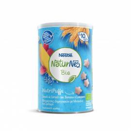 Nestle Naturnes Bio Nutripuffs Βραφικές Μπουκίτσες Δημητριακών με Μπανάνα και Σμέουρο απο τον 10ο Μήνα 35g