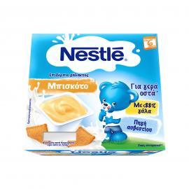 Nestle Neslac Επιδόρπιο Μπισκότο με γάλα 4x100gr 6m+