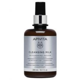APIVITA Cleansing Milk, Γαλάκτωμα καθαρισμού 3σε1, Πρόσωπο & Μάτια - 300ml