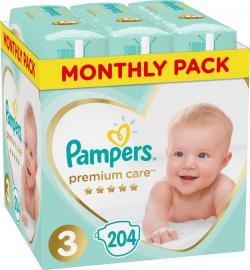 Pampers Premium Care 3 Monthly (6-10kg) 204 Πάνες