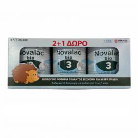 NOVALAC Σετ Bio 3, Βιολογικό Ρόφημα Γάλατος σε Σκόνη για Παιδιά 1 έως 3 ετών - 400gr 2+1 Δώρο