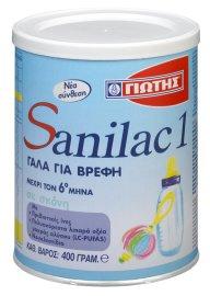 Γιώτης Sanilac 1 Γάλα 1ης Βρεφικής Ηλικίας 0-6 Μηνών 400gr