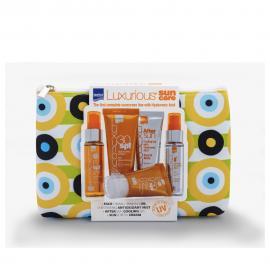 InterMed Luxurious Set Sun Care Tanning Oil SPF6 50ml & Body Sunscreen Cream SPF30 75ml & Sunscreen Cream SPF50 Σώματος 40ml & After Sun Face & Body 75ml & Spray Mist Hydrating Antioxidant Face & Body 50ml